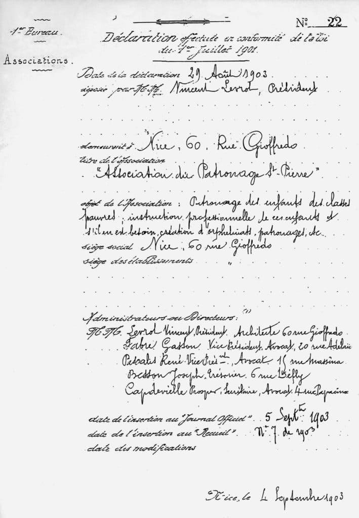 Déclaration à la Préfecture constituant l'association Patronage Saint Pierre